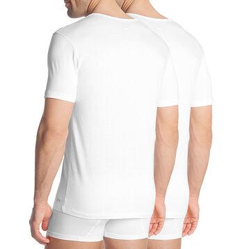 Lot de 2 T-shirts blancs à col en V coton résistant-DIM