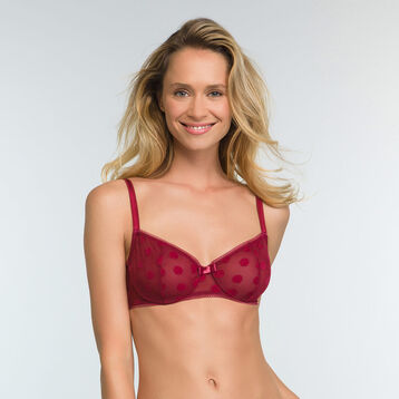 Cherry Red full cup bra with polka dot print Dotty Line, , DIM