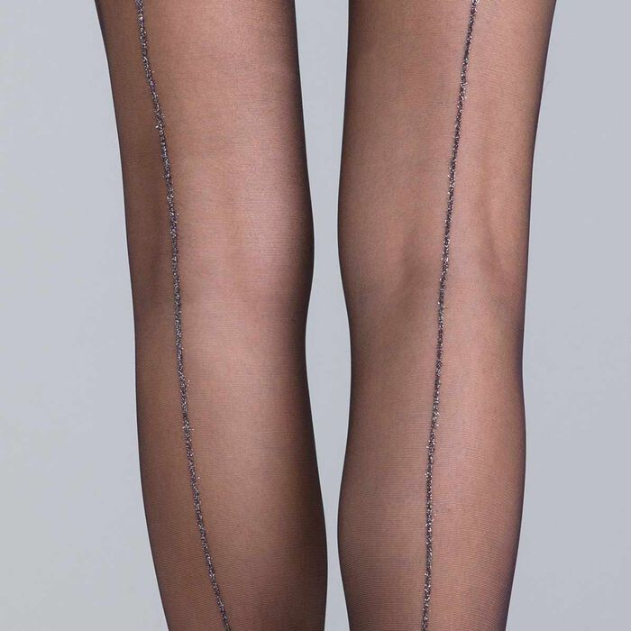 Style black and silver lurex seamed tights - DIM