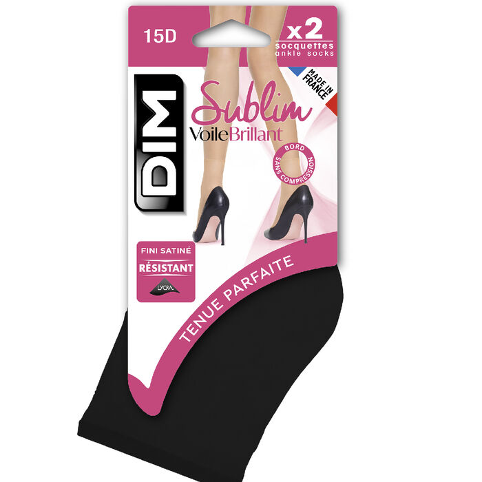 Pack of 2 Sublim 14 shimmer ankle highs in black, , DIM