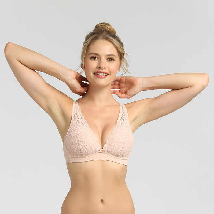 Dim Sublim Dentelle pink wireless triangle bra, , DIM