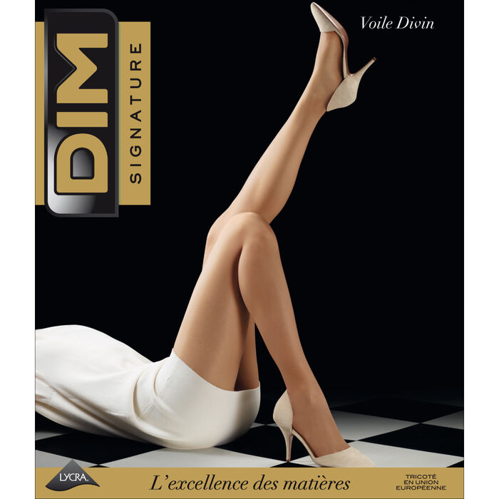 DIM Signature Voile Divin 10 sheer tights in natural beige, , DIM
