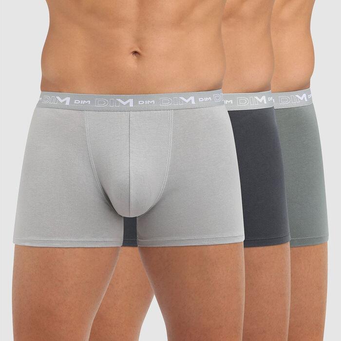 Pack de 3 bóxers para hombre gris oscuro y gris granito Coton Stretch, , DIM
