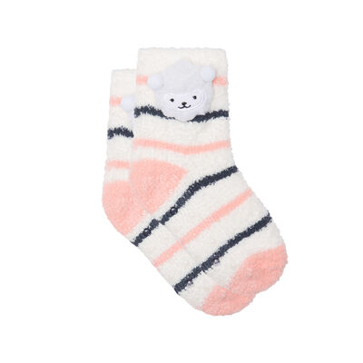 Non-slip 3D Sheep 3D Ivory Pink Kids Cocoon Sock, , DIM