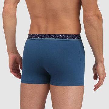 Mix & Dots men's trunks in midnight blue with polka dot waistband, , DIM