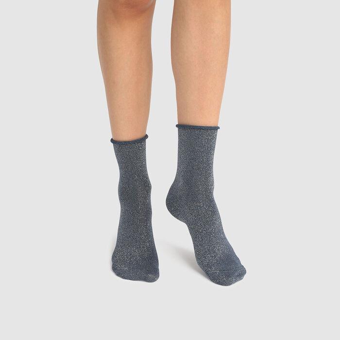 Socquette femme en coton peigné total lurex bleu pétrole Coton Style, , DIM
