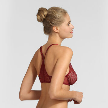 Red lace underwired triangle bra Dim Daily Glam, , DIM