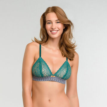 Non-wired triangle bra in green lace - Dim Odyssée, , DIM