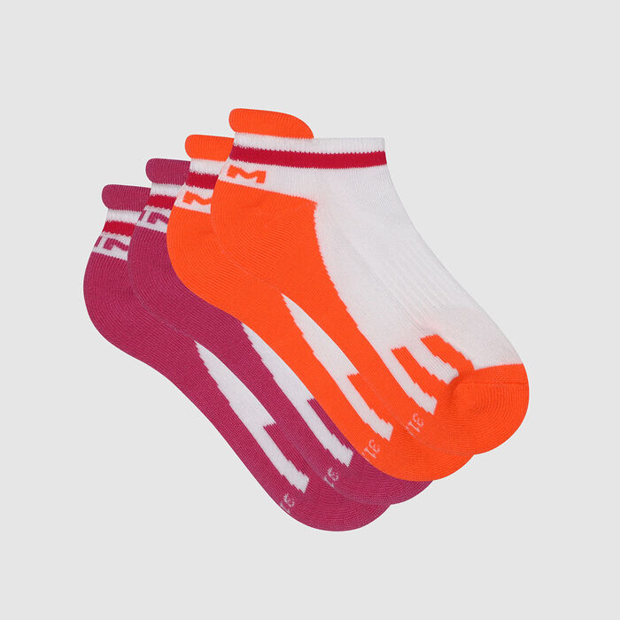 Pack of  2 pairs of retro children's socks Rose Corail Dim Sport, , DIM
