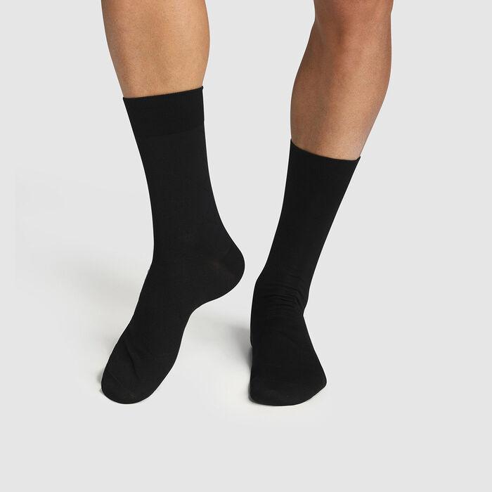 Dim pack of 2 pairs of men's mercerized cotton socks in Black Scottish Thread , , DIM