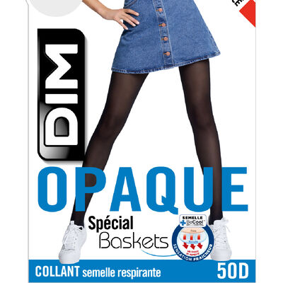 Black 50 opaque tights for trainers, , DIM