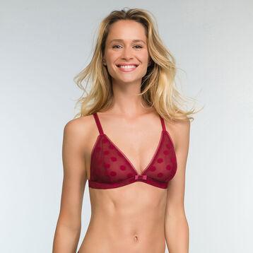 Cherry Red laced triangle bra with polka dots Dotty Line, , DIM