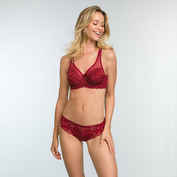 Cherry red full cup lace bra Generous Essentiel, , DIM