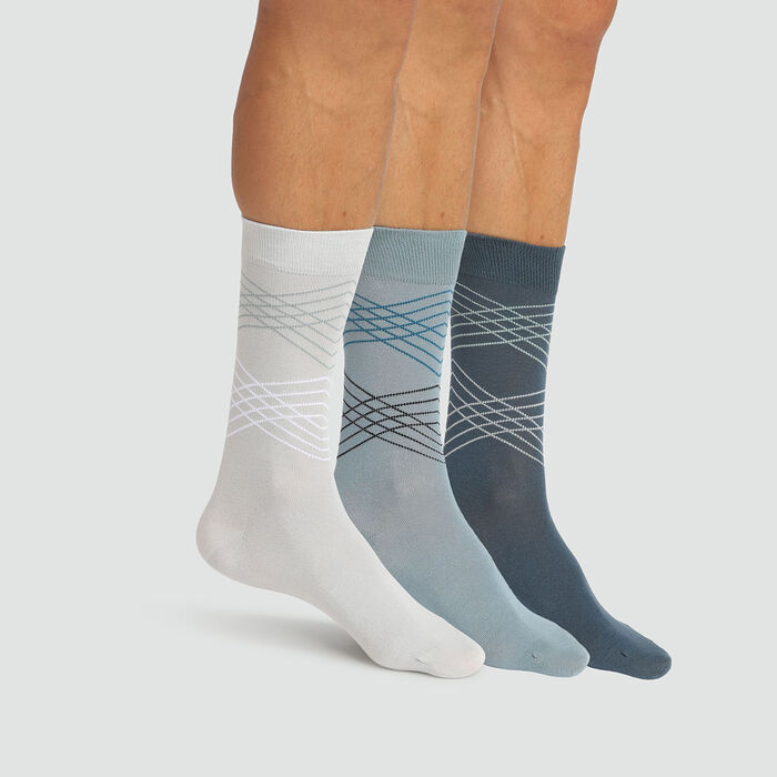 Cotton Style pack of 3 pairs of men's tartan socks Grey Blue, , DIM