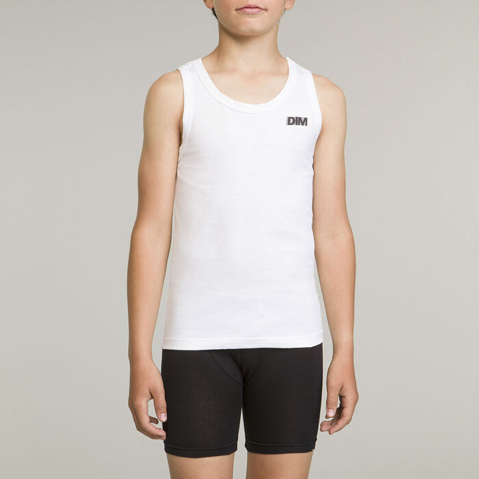 White boy's sport tank top 100% cotton Basic Sport, , DIM