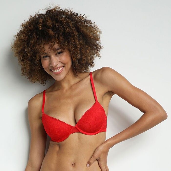 Red daily glam floral lace padded half cup bra, , DIM