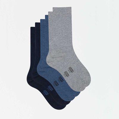Pack de 3 pares de calcetines de algodón hombre azules y gris Basic Coton, , DIM