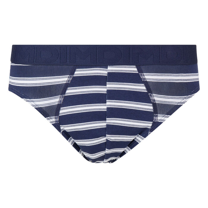 Slip homme bleu blanc en coton stretch à rayures Mix & Fancy, , DIM
