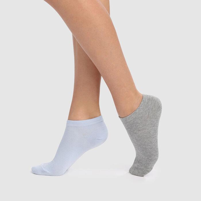 Lot de 2 paires de socquettes courtes bleu cachemire gris Basic Coton, , DIM