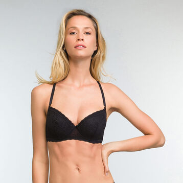 Push up Balconette Bra in Black Daily Glam Trendy Sexy , , DIM