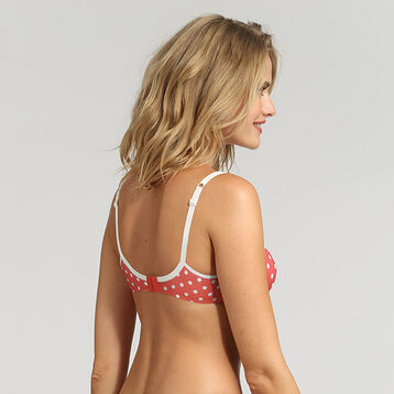 Red underwired bra with white polka dots Generous Retro, , DIM