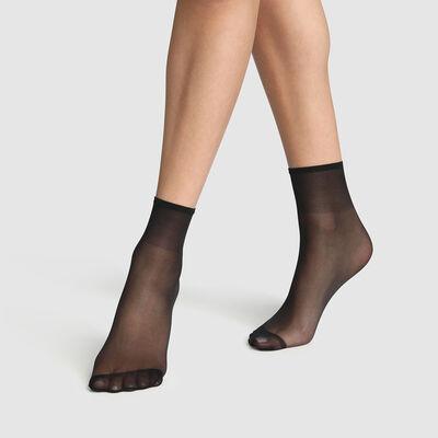 Комплект из 2 пар коротких носков Sublim 14D черного цвета с радужным блеском, , DIM