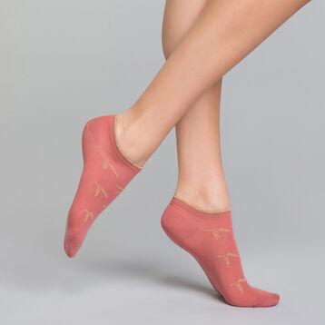 Socquettes courtes coton roses & lurex cuivré - Dim Coton Style, , DIM