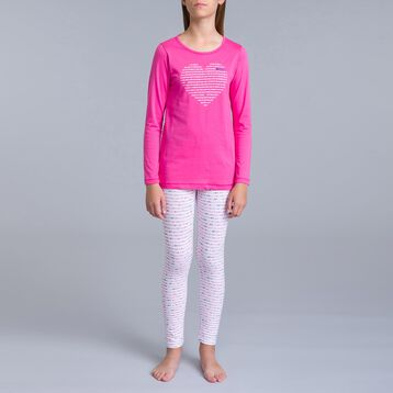 2-piece pink-print white pyjama pants and pink T-shirt - DIM