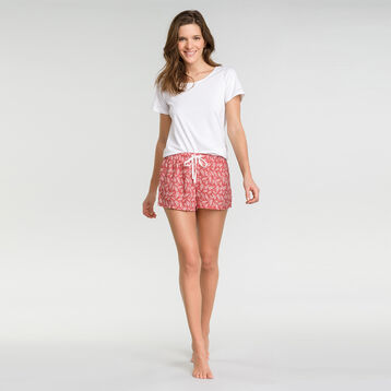 Pink pyjama shorts with foilage print - Fashion, , DIM