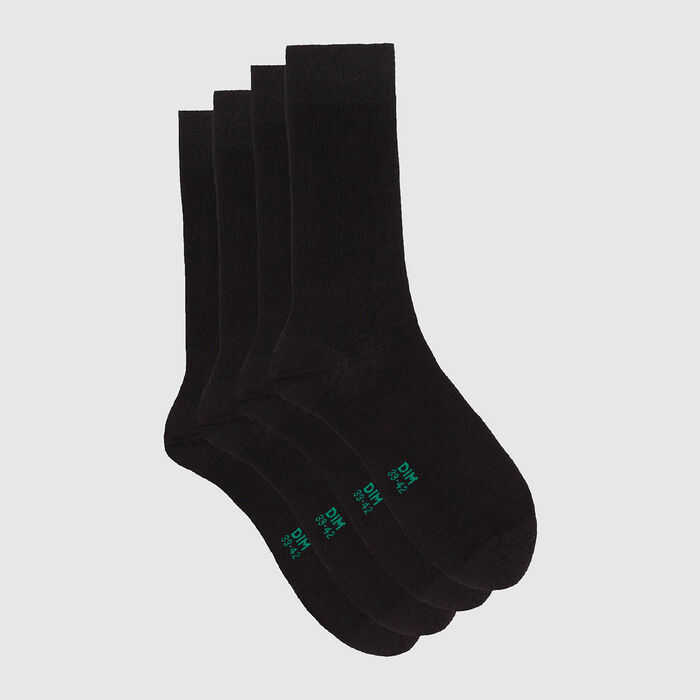 Green by Dim pack of 2 pairs of long organic cotton socks Black , , DIM