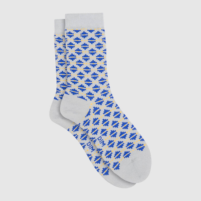 Mixed combed cotton sock diamond print Blue Color Sox, , DIM