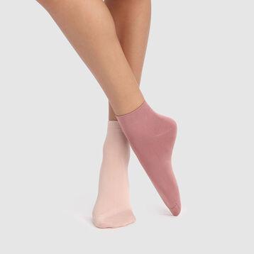 Dim Skin 2 pack microfiber socks in antique rose, , DIM