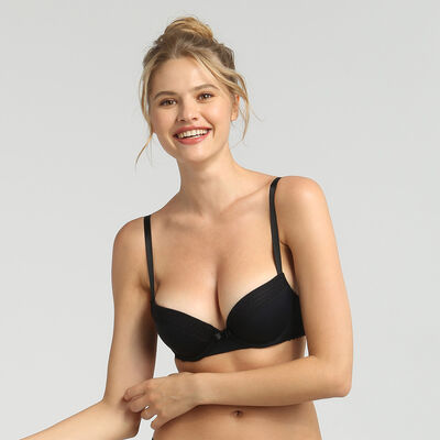 Dim Trendy Micro black underwired push-up bra, , DIM