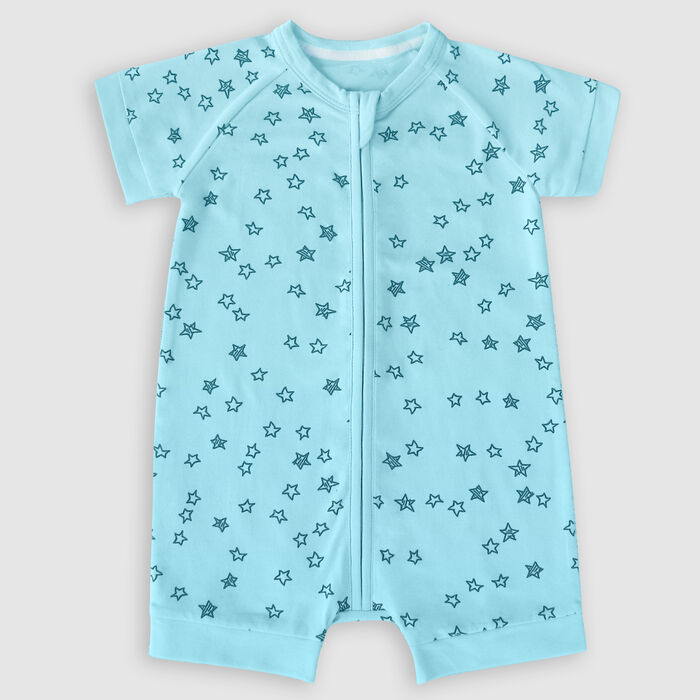 Dim Light blue cotton stretch baby romper with zip and star shower, , DIM