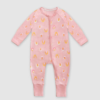 Dim Baby Rainbow print pink stretch cotton baby pyjama with zipper, , DIM