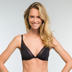 Trendy Micro Microfiber Triangle Push up Bra in Black, , DIM