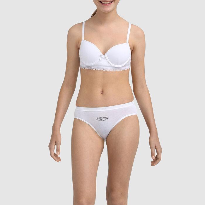 Soutien-gorge fille à coques moulées en coton stretch Blanc Dim Trendy , , DIM
