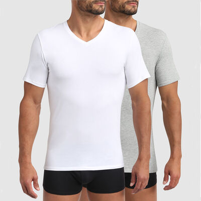 Green by Dim pack of 2 men's organic cotton V-neck t-shirts in white and pearl grey, , DIM