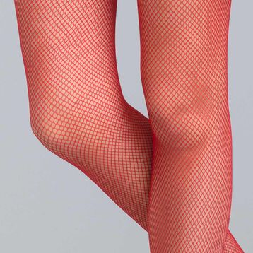 Style 73 intense red fishnet tights - DIM