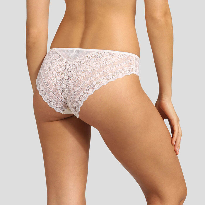 Pearly white graphic lace and dotted-swiss mesh briefs Dim Daily Glam, , DIM