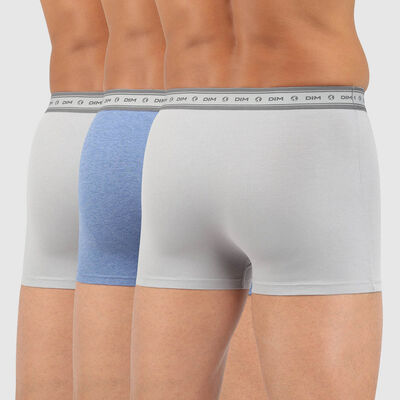 Green by Dim pack of 3 men's organic stretch cotton trunks in steel grey and midnight blue, , DIM