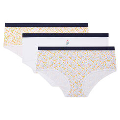3 pack mimosa print shorties Les Pockets Coton Stretch de Dim, , DIM