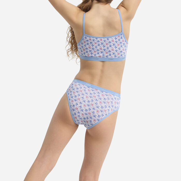 Les Pockets Girls' Pack of 3 Wax Printed Stretch Cotton Bras Blue, , DIM