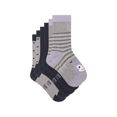 Pack of 3 pairs of Grey Squirrel Kids Cotton Style Socks, , DIM