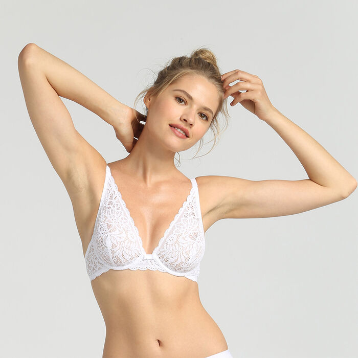Dim Sublim Dentelle white wireless triangle bra, , DIM