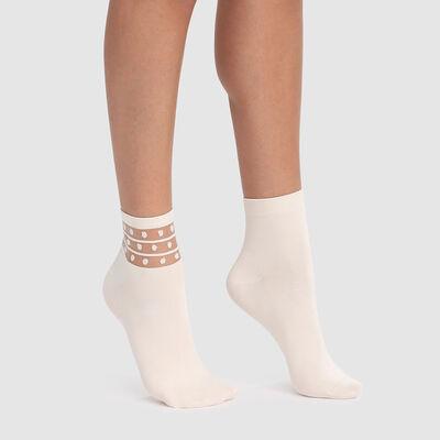 Набор 2шт.: Белые носки Dim Skin Fancy, , DIM