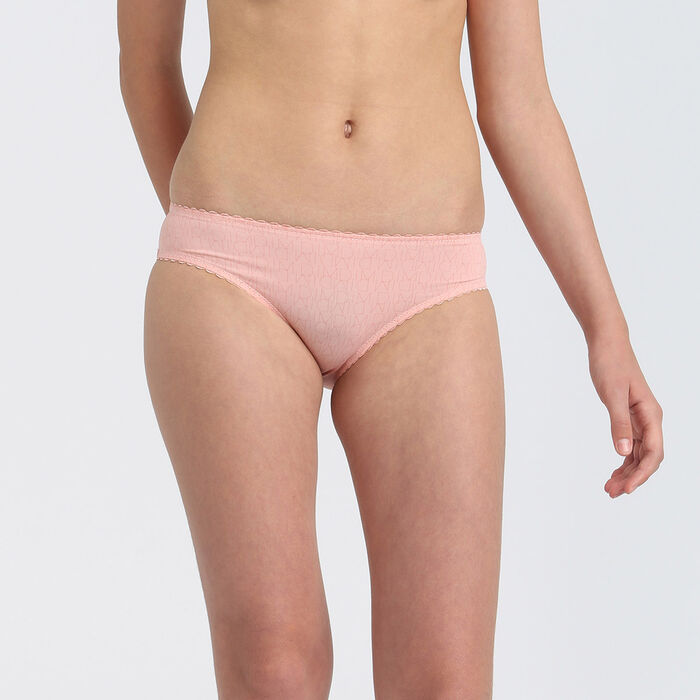 Dim Touch girls' blush pink microfibre briefs with scalloped waistband, , DIM
