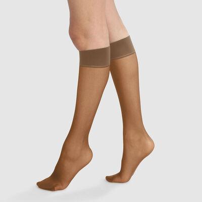 Green by Dim pack of 2 cinnamon semi-opaque knee-high socks 100% recycled thread 25D, , DIM