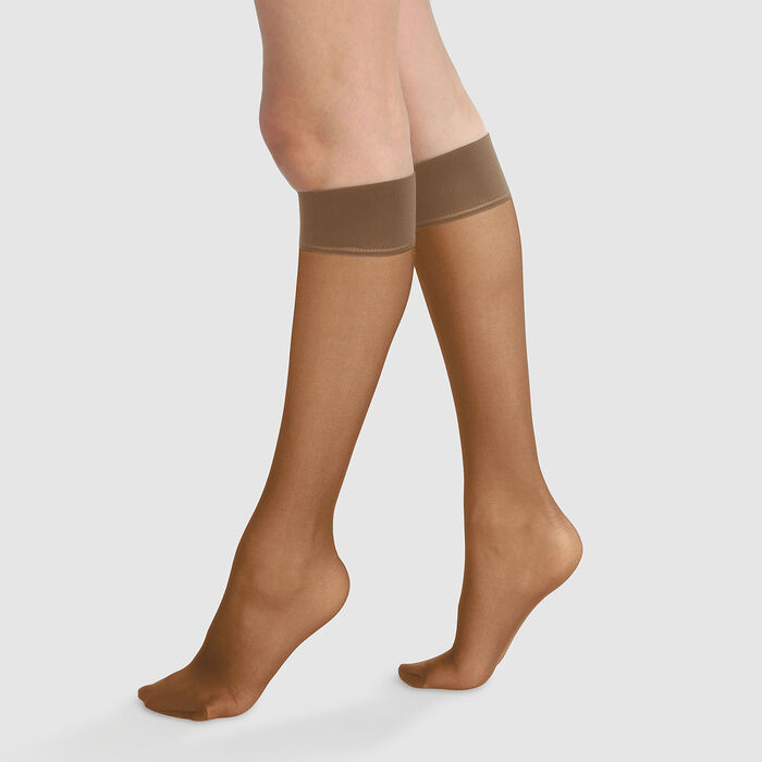 Green by Dim pack of 2 cinnamon semi-opaque knee-high socks 100% recycled thread 25D, , DIM
