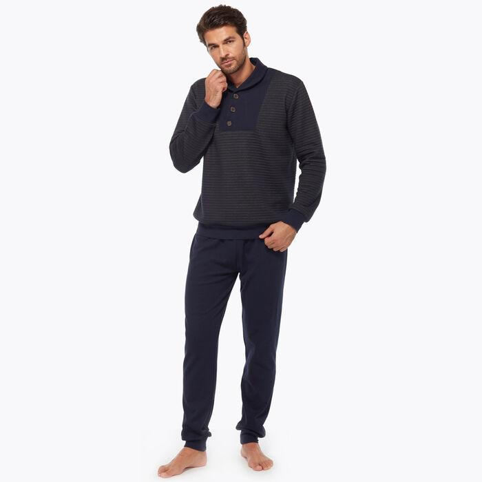 Men's blue and brown pyjama set, , DIM